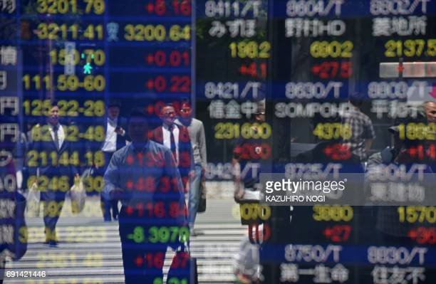 Pedestrians are reflected on a stock quotation board of the Tokyo Stock Exchange in Tokyo on June 2 2017 Japanese stocks rallied on June 2 to a near...
