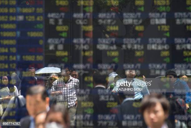 Pedestrians are reflected on a stock quotation board of the Tokyo Stock Exchange in Tokyo on June 14 2017 Tokyo stocks rose on June 14 tracking...