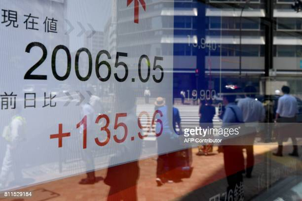 Pedestrians are reflected on an electronic stock indicator at a window of a security company displaying the current rate of the Tokyo Stock Exchange...