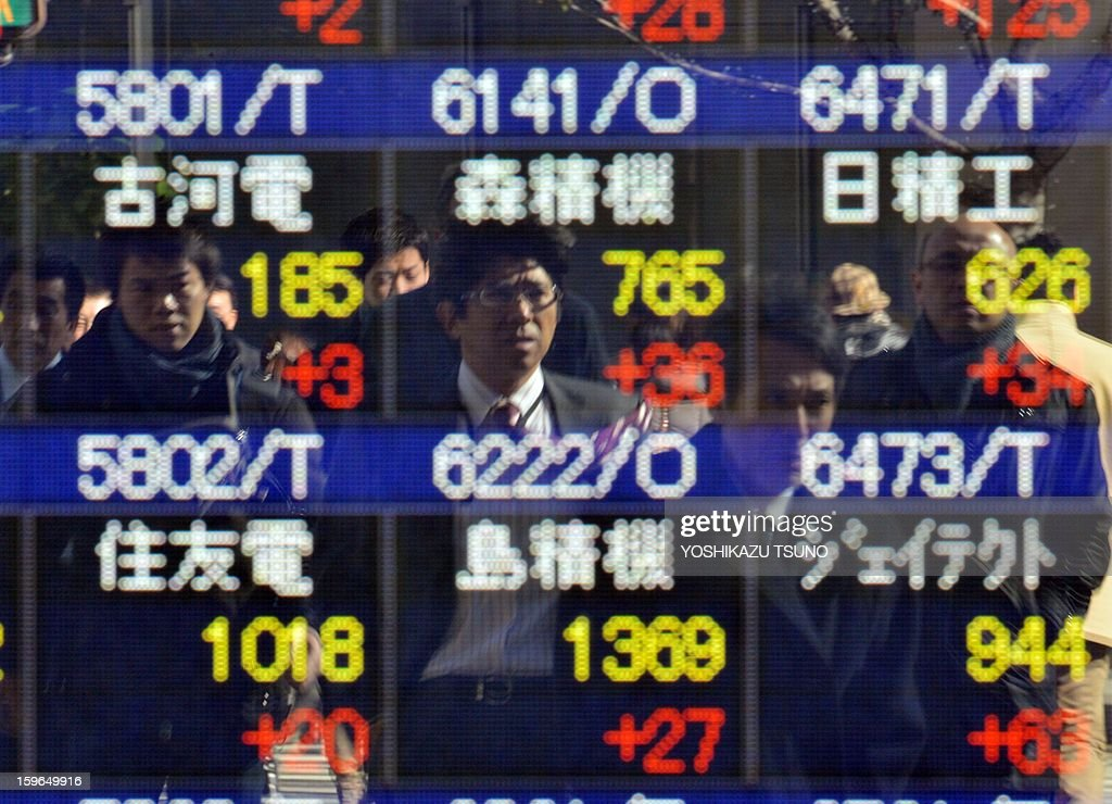 Pedestrians are reflected onto glass infront of a share price display board in Tokyo on January 18, 2013. Japan's share prices rose 232.60 points to close at the morning session of the Tokyo Stock Exchange, boosted by a weaker yen, upbeat Chinese economic data and solid gains on Wall Street. AFP PHOTO / Yoshikazu TSUNO