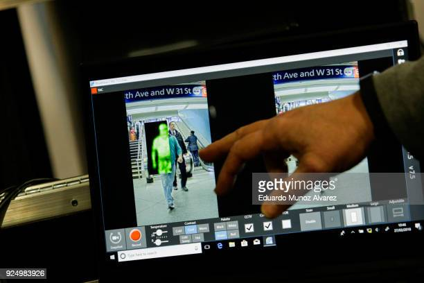 Pedestrians are seen through the new devices designed to detect explosives at New York City's Penn Station on February 27 2018 in New York City The...