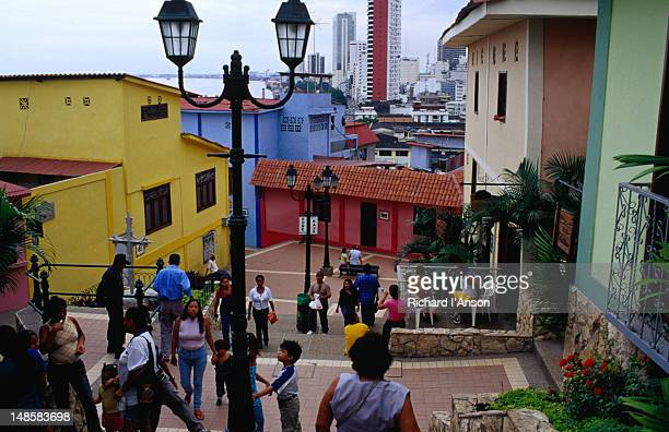 pedestrians climbing the stairs in the las penas district of guayaquil. - guayaquil fotografías e imágenes de stock