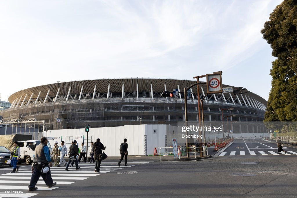 JPN: The Under Construction New National Stadium As Japan' Olympic Head Resigns