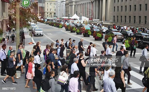 Pedestrians Cross Front Street near Toronto Union Station, Rush Hour
