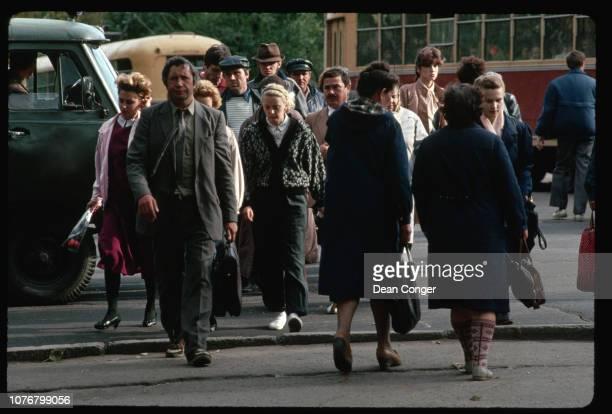 Pedestrians Crossing Street in Khabarovsk