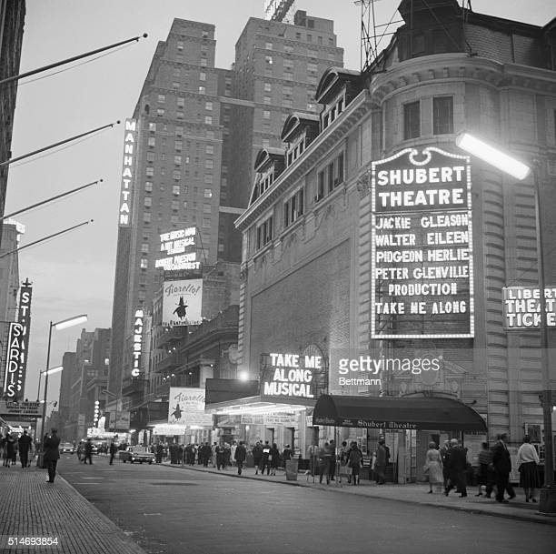 Pedestrians fill the sidewalks of the Broadway theater district in New York City June 13 1960