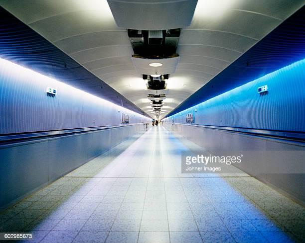 Pedestrians in tunnel