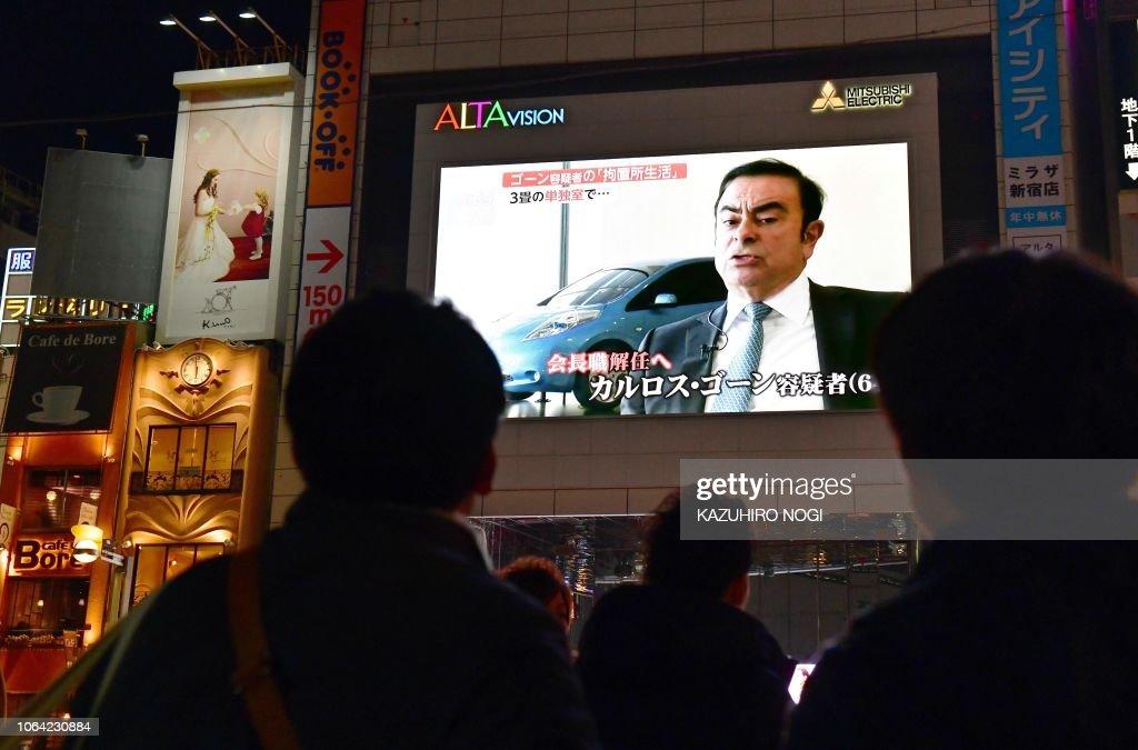 TOPSHOT-JAPAN-AUTOMOBILE-NISSAN-RENAULT-MITSUBISHI-GHOSN : News Photo