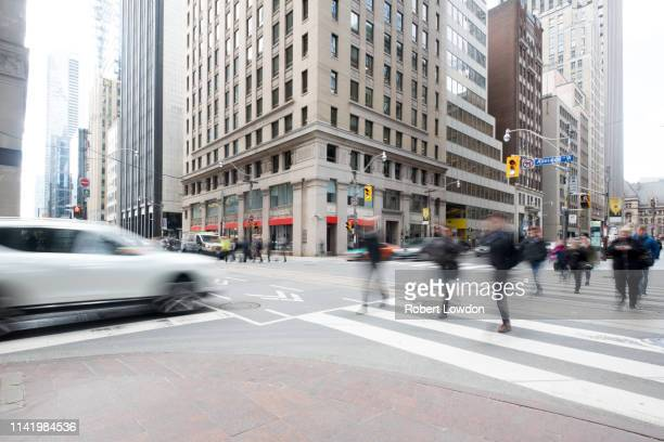 pedestrians on bay street - traditionally canadian stock pictures, royalty-free photos & images