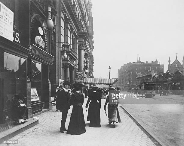 Pedestrians on Broadway and 38th Street New York City circa 1893