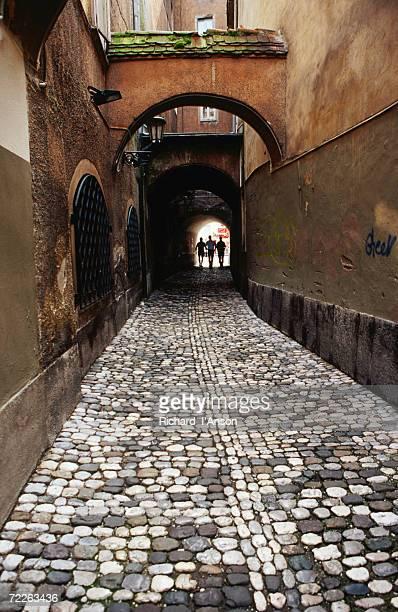 pedestrians on cobbled lane off ribji square, ljubljana, slovenia - リュブリャナ ストックフォトと画像