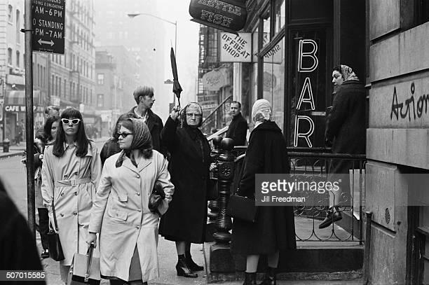 Pedestrians on MacDougal Street Greenwich Village New York City USA 1966