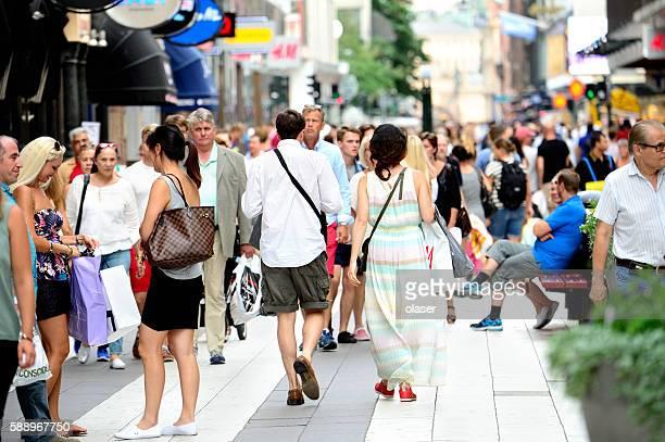 Pedestrians on street Drottninggatan, Stockholm, Sweden