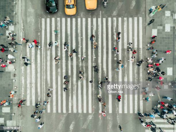 pedestrians on zebra crossing, new york city - aerial view stock pictures, royalty-free photos & images