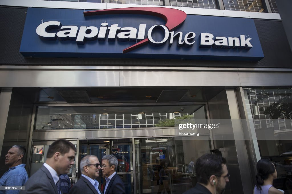 A Capital One Financial Corp. Bank Branch As Earnings Released : News Photo