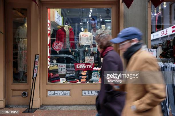 Pedestrians pass in front of a Levi Strauss Co store in the SoHo neighborhood of New York US on Friday Feb 9 2018 Bloomberg is scheduled to release...