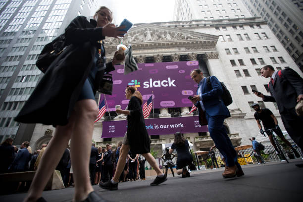 NY: Trading On The Floor Of NYSE As Slack Releases IPO