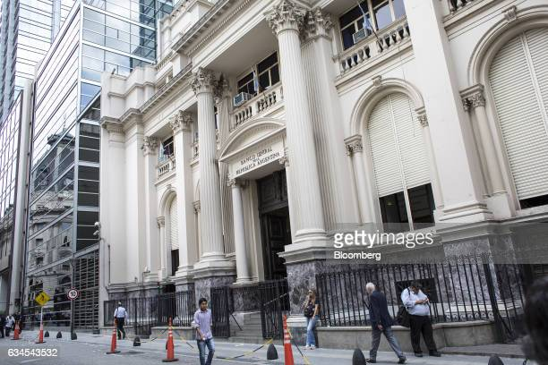 Pedestrians pass in front of the Central Bank of Argentina in Buenos Aires Argentina on Wednesday Feb 1 2017 The city of Buenos Aires released...