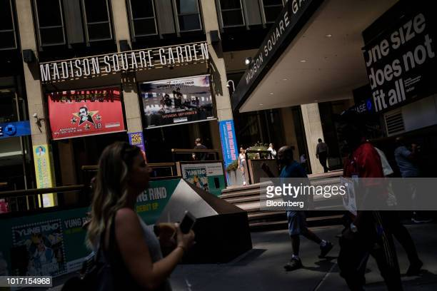 Taxi cabs sit parked at a stand outside the Madison Square Garden Co venue in New York US on Tuesday Aug 14 2017 Madison Square Garden Co is...