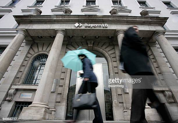 Pedestrians pass the headquarters of Bayerische Landesbank in Munich Germany on Thursday April 3 2008 Bayerische Landesbank Germany's secondbiggest...