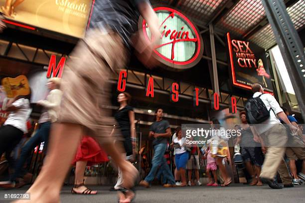 Pedestrians pass the Virgin Megastore in Times Square June 24 2008 in New York City It has been reported that Vornado Realty Trust and The Related...