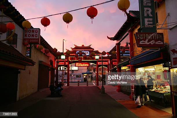 Pedestrians shop in an old section of Chinatown April 5 2007 in Los Angeles California As the demographics of large cities in the US continue to...