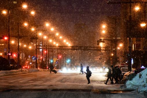 Pedestrians silhouettes in Sapporo - gettyimageskorea
