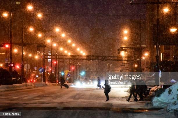 Pedestrians silhouettes in Sapporo