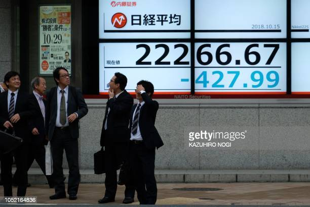 Pedestrians stand in front of a stock indicator showing share prices of the Tokyo Stock Exchange in Tokyo on October 15 2018 Tokyo's benchmark Nikkei...