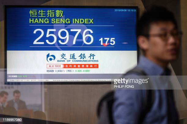 Pedestrians stand in front of a stocks display board showing the Hang Seng Index at 25976 in Hong Kong on August 6 2019 Hong Kong shares pared back...