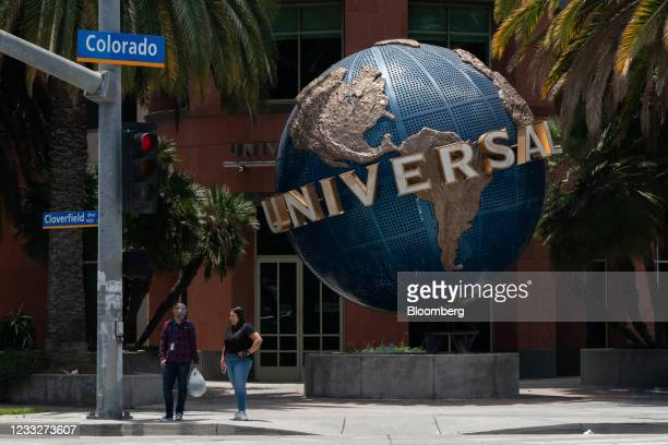 Pedestrians stand outside Universal Music Group headquarters in Santa Monica, California, U.S. On Friday. June 4, 2021. A blank-check company backed...
