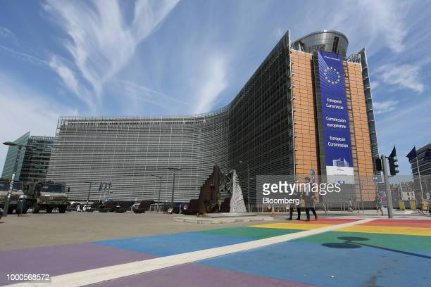 European Union flags fly outside Europa building the seat of the European Council and Council of the European Union in Brussels Belgium on Monday...