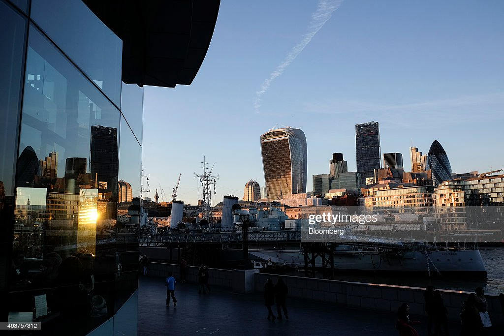 Skyscrapers In The City Of London As FTSE 100 Inches Toward Record : News Photo