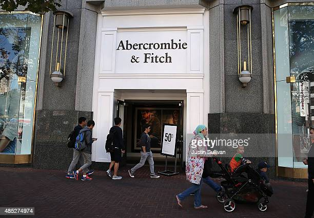 Pedestrians walk by an Abercrombie Fitch store on August 26 2015 in San Francisco California Abercrombie Fitch reported betterthanexpected second...