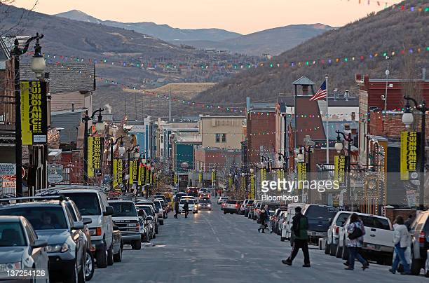 Pedestrians walk on Old Main Street in Park City Utah US on Friday Jan 13 2012 The Sundance Film Festival will run from Jan 19 29 Photographer George...