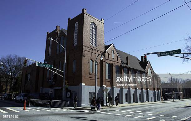 Pedestrians walk outside of Ebenezer Baptist Church which is located next to the King Center January 31 2006 in Atlanta Georgia Coretta Scott King...