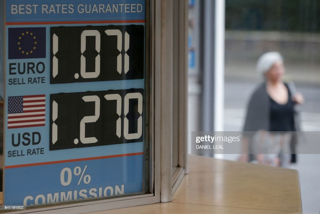 Pedestrians Walk Past A Board Diplaying The Price Of Euro And US Dollars  Against British Pound