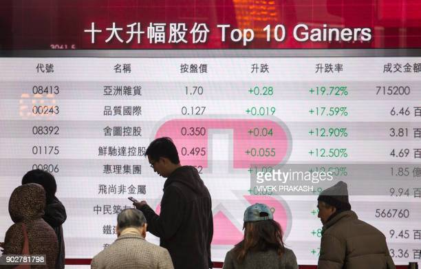 Pedestrians walk past a board displaying the top gainers on the Hang Seng Index at a bank in Hong Kong on January 9 2018 A global 2018 stock market...