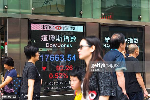 Pedestrians walk past a financial display board in Hongkong