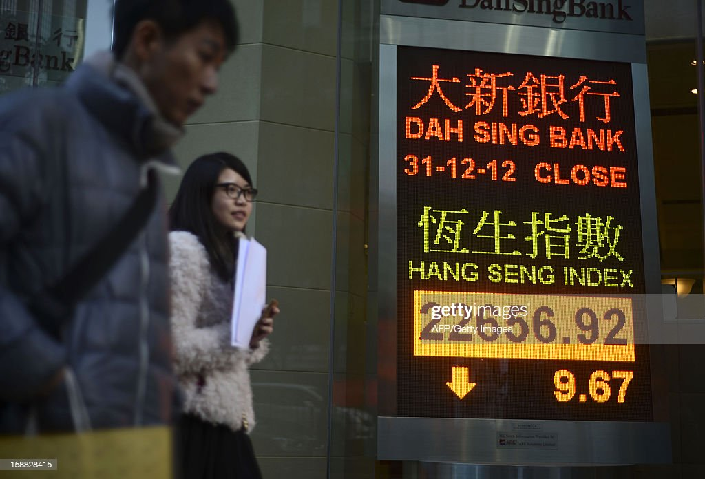 Pedestrians walk past a screen showing the Hang Seng index closing numbers for 2012, inside a bank in Hong Kong on December 31, 2012. The benchmark Hang Seng Index closed 9.67 points lower to finish at 22,656.92 on turnover of 3.71 billion USD in half-day trade ahead of the New Year break. AFP PHOTO / Antony DICKSON