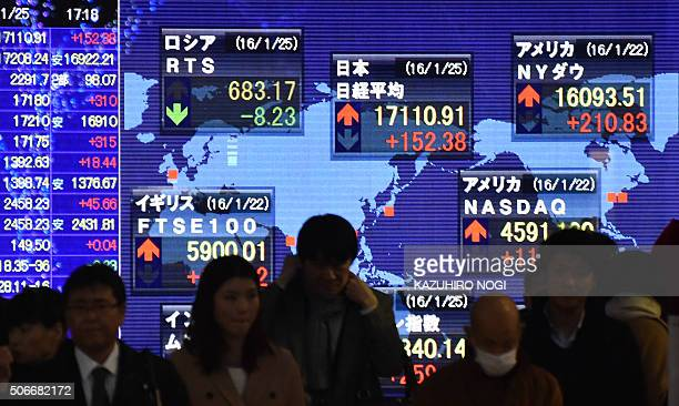 Pedestrians walk past a share prices board showing the numbers from the Tokyo Stock Exchange and other world markets in Tokyo on January 25 2016...