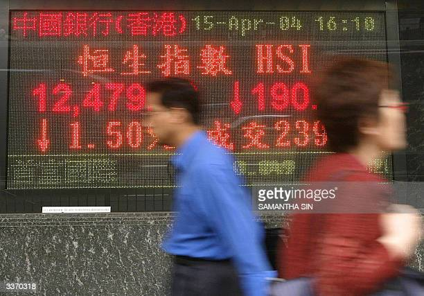 Pedestrians walk past a sign board showing the 1.5 percent drop in the Hang Seng Index of the Hong Kong Stock Exchange, 15 April 2004. Hong Kong...