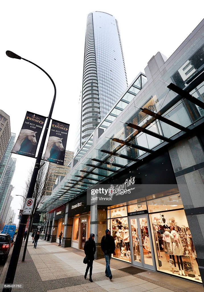 Pedestrians walk past a Snowflake store situated in the retail space outside the Trump International Tower and Hotel on February 28, 2017 in Vancouver, Canada. The tower is the Trump Organization's first new international property since Donald Trump assumed the presidency.