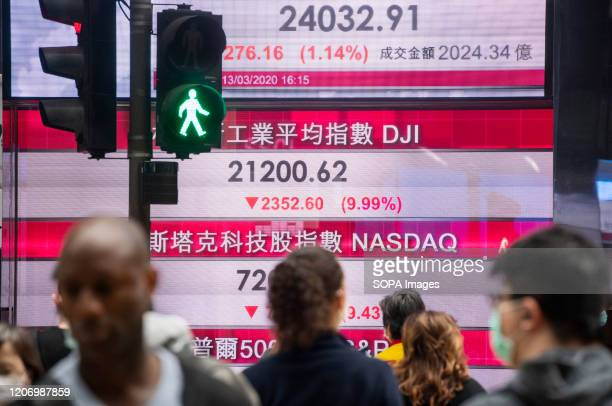 Pedestrians walk past a stock market display board showing the Hang Seng Index results in Hong Kong World markets have plunged by fears over the...