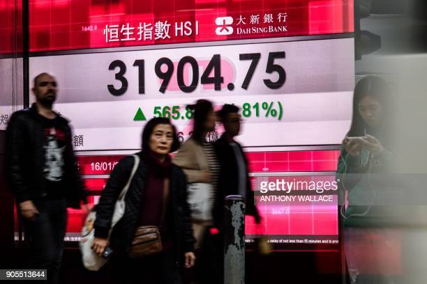 Pedestrians walk past a stocks display board after the Hang Seng Index leapt 181 percent or 56588 points to close at 3190475 in Hong Kong on January...