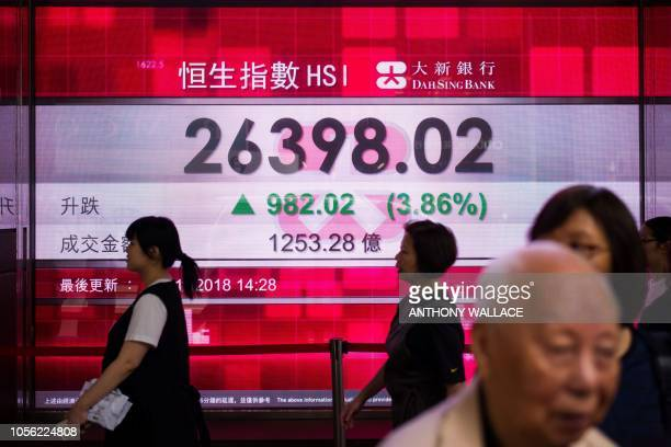 Pedestrians walk past a stocks display board that shows an increase in the Hang Seng Index in Hong Kong on November 2 2018 Asian markets enjoyed...