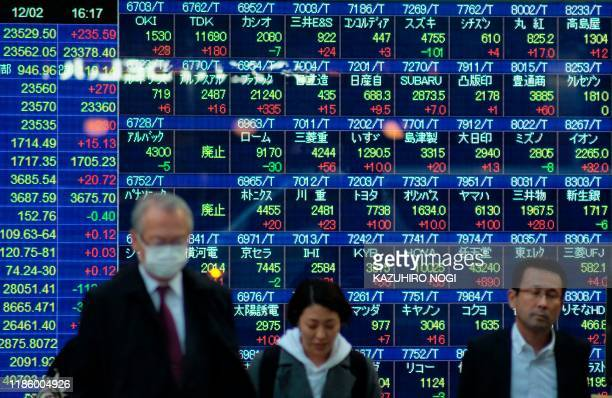 Pedestrians walk past an electric quotation board displaying the numbers on the Nikkei 225 index on the Tokyo Stock Exchange in Tokyo on December 2...