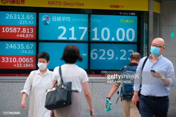 Pedestrians walk past an electronic quotation board displaying share prices from the Tokyo Stock Exchange in Tokyo on July 31, 2020. - Tokyo's...