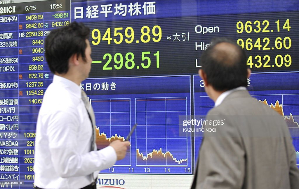 Pedestrians walk past an electronic share price board in Tokyo on May 25, 2010. Japanese stocks closed down 3.06 percent, hitting their lowest level since November 30 amid concerns about the eurozone debt crisis and rising geopolitical tensions around North Korea. The headline Nikkei index of the Tokyo Stock Exchange dropped 298.51 points to 9,459.89, while the Topix index of all first-section shares fell 20.19 points, or 2.29 percent, to 859.82. AFP PHOTO/Kazuhiro NOGI