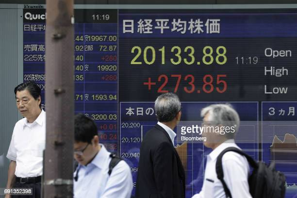 Pedestrians walk past an electronic stock board at a securities firm in Tokyo Japan on Friday June 2 2017 Asian stocksrallied Friday morning with...